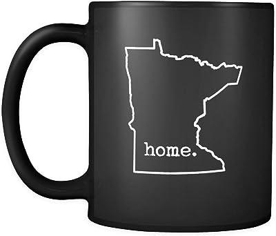 状態のコーヒーマグ–MN Minnesota Stateホームアウトラインセラミックコーヒーカップ–ブラック–11オンス