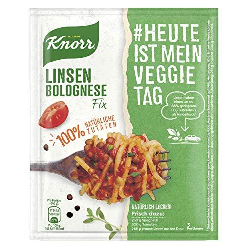 Knorr Natürlich Lecker. Fix für Linsen Bolognese #HeuteIstMeinVeggieTag Linsen Bolognese vegetarisch, 44 g, 3 Portionen