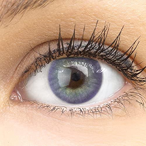 """Sehr stark deckende und natürliche violette lila Kontaktlinsen SILIKON COMFORT NEUHEIT farbig """"Jasmine Violet"""" + Behälter von GLAMLENS - 1 Paar (2 Stück) - DIA 14.00 - ohne Stärke 0.00 Dioptrien"""