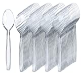300 Clear Plastic Spoons | Heavy Duty Plastic Silverware Spoons | Fancy Plastic Cutlery | Elegant Disposable Spoons Pack | Bulk Disposable Flatware | Plastic Utensils Set | Nice Disposable Silverware
