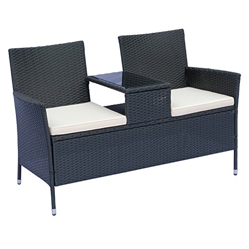Outsunny 2 Seater Rattan Campanion Chair Wicker Loveseat Outdoor Patio Armchair with Drink Table Garden Furniture - Black