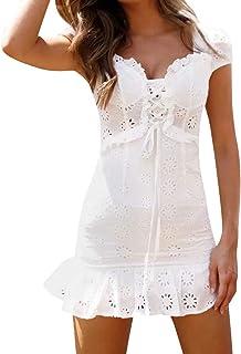 QIjinlook💖Vestido Encaje Blanco Mujer/Vestido Volantes Dama 💖,Vestido Ceremonia niña/Vestido quinceañera Blanco/Vestido Camisero Mujer/Verano/Elegante/Vintage