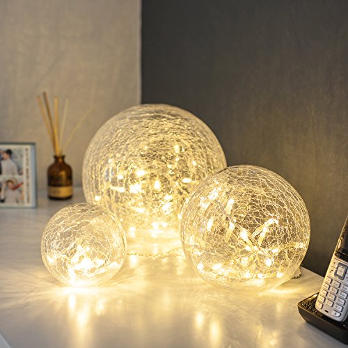 Lights4fun Set of 3 Battery Operated Fairy Light Orbs Crackled Glass Balls Warm White LED