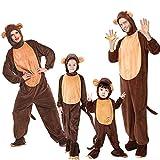 JJAIR Familia del Mono Animales Cosplay Bodies, Traje de la Cremallera Delantera Diseño Pjamas Disfraz Capucha Pijama Ropa de Dormir con la Cola Larga,120