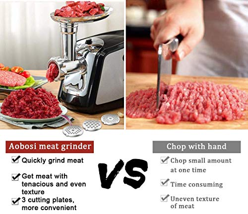Electric Meat Grinder, Aobosi 3-IN-1 Meat Mincer & Sausage Stuffer,【1200W Max】Sausage & Kubbe Kits Included, 3 Grinding Plates,Stainless Steel   Home Kitchen & Commercial Use