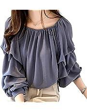[1/2style (ニブンノイチスタイル)] ラメ 入り ブルー ベージュ ピンク 長袖 とろみ 襟 なし タック バルーン 袖 ブラウス レディース M,L,XL