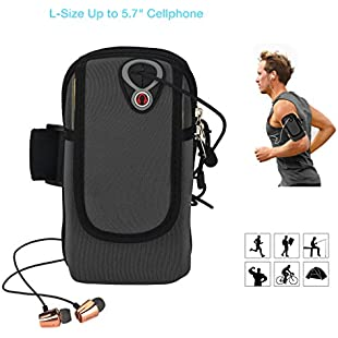 "ieGeek Men's L Phone Holder Sweat Sports Armband Bag for Iphone 7/6S/6 Plus, Samsung Galaxy S7/S6 Edge, LG, Htc, Huawei Cellphone up to 5.7"", Running Workout Cycling Hiking Jogging Multifunctional Pockets with Free Keychain-L, Black, (L):Ege17ru"