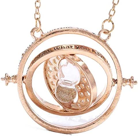 Sakytal Sand Clock Necklace Chain Gold Sand Glass Large Pendant Time Turner Sweater Necklaces product image