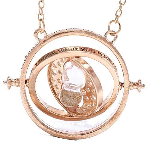 Sakytal Sand Clock Necklace Chain Gold Sand Glass Large Pendant Time-Turner Sweater Necklaces Jewelry for Women and Girls (Gold)