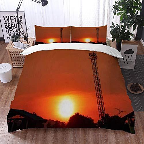 Mingdao bedding - Duvet Cover Set, Cloud Beautiful Sky Red Orange Sunset Nature Parks Cellular Outdoor Tower Signal Design Structure,Microfibre Duvet Cover Set 135 x 200 cmwith 2 Pillowcase 50 X 80cm