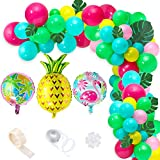 106Pcs 16Ft Tropical Hawaiian Balloon Garland Kit Jungle Luau Party Balloon Arch Garland Flamingo Palm Tree Pineapple Aluminum Balloons with Palm Leaves Strip for Hawaiian Party Decorations