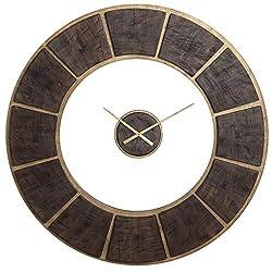 Uttermost 06102 Kerensa - 39.75 Wall Clock, Rustic/Dark Wood/Gold Leaf Finish