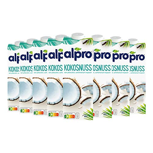 8x Alpro - Kokosnuss Drink Original, mit Reis - 1000ml