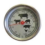 Edelstahl Thermometer 0-120° C Temperatur räuchern Räucherofen