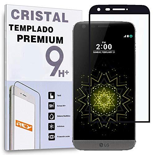 REY Protector de Pantalla Curvo para LG G5, Negro, Cristal Vidrio Templado...