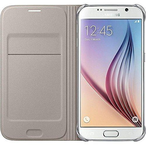 Samsung Leather-Effect Flip Folio Wallet Schutzhülle Case Cover in Kunstleder mit Kreditkartenfach für Galaxy S6, gold