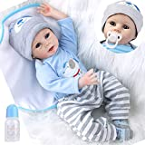 ZIYIUI Lebensecht Babypuppe Reborn Babys Puppen Realistische Reborn Junge Silikon Puppe 55 cm Kinder...