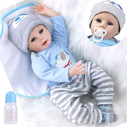 ZIYIUI 55cm Reborn Babys Junge lebensechte babypuppen silikon Puppe wie echtes Toddler realistische doll mädchen günstig 22inch