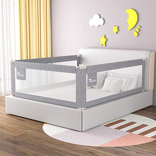 Luchild Bettgitter Bettschutzgitter Kinderbettgitter Babybettgitter,passend für Kinderbetten, Elternbetten und Alle Matratzen Massivholzbetten Neu (1.8M Grau nur eine seite)
