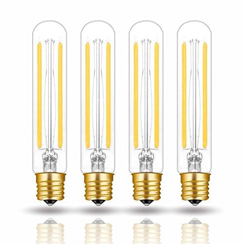 Hizashi 4W LED T6.5 Tubular Filament Bulb E17 Intermediate Base Dimmable 4.7'' Length 40W Equivalent Light Bulb 4000K Cool White 90+ CRI for Exit Sign Light, Refrigerator, Freezer, UL Listed - 4 Pack
