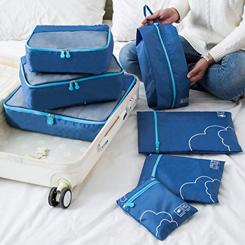 Momyeah Bolsa de Almacenamiento 7 Piezas Bolsas de Almacenamiento de Viaje portátiles Ropa Zapatos Organizador Bolsa de artículos de tocador cosméticos Kit de Equipaje Accesorios, 4,7 Piezas