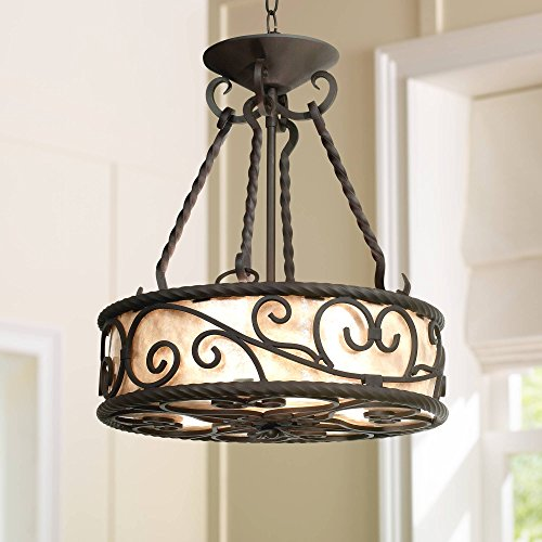 "Natural Mica Collection Walnut Pendant Chandelier 17"" Wide Rustic Country Cottage Scroll Fixture for Dining Room House Foyer Kitchen Island Entryway Bedroom Living Room - John Timberland"