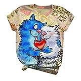 Camisa de manga corta para mujer, diseño de gato con cuello redondo de San Valentín para adultos, blusa de mujer lisa para San Patricio de Pascua (azul-L)