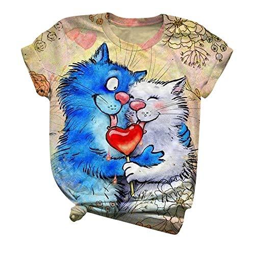 Blusa de manga corta para mujer, diseño de gato con cuello redondo de San Valentín para adultos, color liso, para San Patricio, color azul y XXL