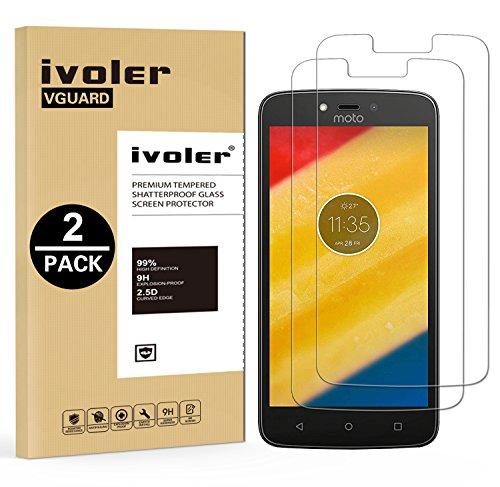 ivoler [3 Stücke] Panzerglas Schutzfolie für Motorola Moto C Plus, 9H Festigkeit, Anti- Kratzer, Bläschenfrei, [2.5D R&e Kante]