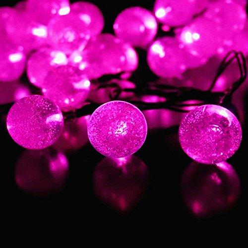 Solarbetriebene Kristall Kugel Fee Schnur Licht, KEEDA 20ft 30 LED wasserdichte Outdoor Garten Solarlichter Außenbeleuchtung für Garten, Terrasse, Weihnachten,Party dekoration (Rosa)