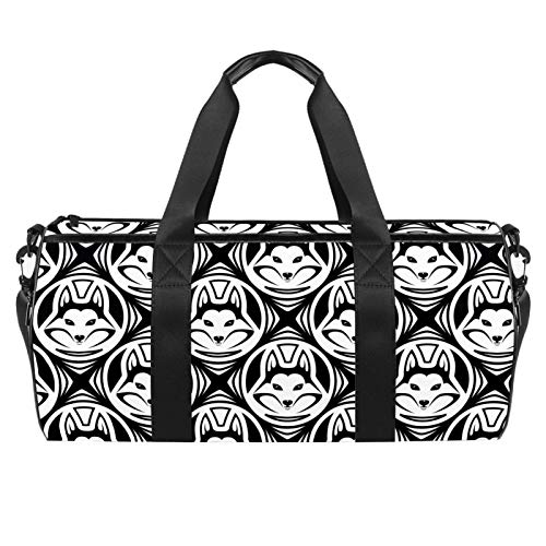 LAZEN Hombro Handy Sports Gym Bags Travel Duffle Totes Bag para Hombres Mujeres Negro Blanco Hipster Husky Dog Pattern