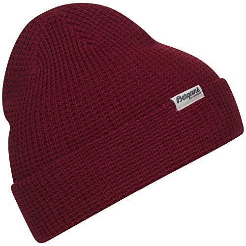 Bergans Waffle Knit Beanie Rot, Merino Kopfbedeckung, Größe One Size - Farbe Red