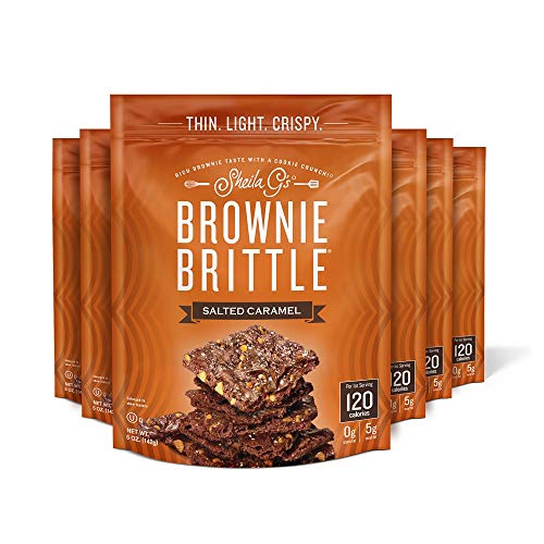 Sheila G's Brownie Brittle Salted Caramel- Low Calorie, Healthy Chocolate, Sweets & Treats Dessert, Thin Sweet Crispy Snack-Rich Brownie Taste with a Cookie Crunch- 5 oz, Pack of 6