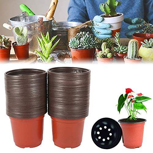 Pflanztöpfe Kunststoff mit Untersetzer, Anzuchttöpfe pflanzentöpfe Plastik pflanzentöpfe Kunststoff Blumentöpfe Anzuchttöpfe Nursery-Pot Klein für Sämlinge Miniaturpflanzen runde Saattöpfe