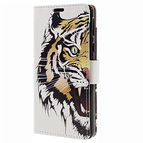MSK Kompatibel mit Samsung Galaxy A02s, Leder Flip Hülle Hülle Tasche Handyhülle Schutzhülle Etui Build-in Stand,Tiger Kopf