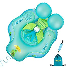 Obuby Baby Swimming Float Ring Inflatable Neck Pool Floats with Safe Bottom Support Children Waist Swim Water Toys Accessories for Toddler Age of 3-36 Months, Small 2 【Suitable Crowd】 S size is suitable for the age 3-12 months old,weight 11-25 lbs. / Large size is suitable for the age 6-24 months old,weight 18-30 lbs. / X-Large size is suitable for the age 1-3 years old,weight 26-39 lbs. 【Multi-Flod Protection】Double-layered Air Chamber, Raised Front, Widened Sides, Shoulder Strap, 2 non-detachable Back Airbags, Abdomen Support, Bottom Croth, Front Traction rope and Safety Buckle, keeping infant in place to advoid forward overturning, flip over or sliding out. 【Soft & Comfortable】This inflatable floaty with Glod 40 Degrees - ideal swimming posture design - bring your kids happy swim time in water with Breaststroke / Backstroke.