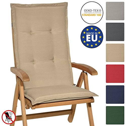 Beautissu Loft HL - Cojín para sillas de balcón o Asiento Exterior con Respaldo Alto - 120x50x6 cm - Placas compactas de gomaespuma - Natural