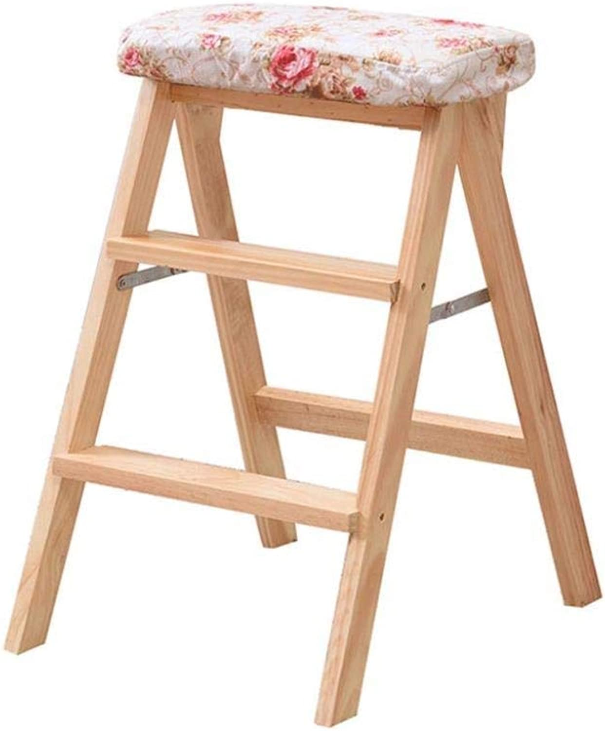 Household Folding Stool Solid Wood Portable Chair Kitchen Creative Folding Stool Adult High Stool Step Stool Simple Small Bench 42×49×63cm ZXMDMZ (color   T)