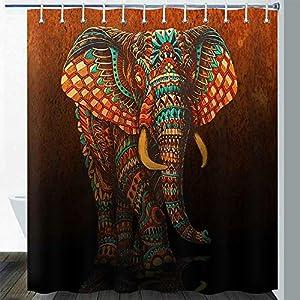 Gdmoon Brown Elephant Shower Curtain Retro African Tropical Jungle Wildlife Indian Mandala Floral Paisley Bathroom Curtain Set 72 x 72In YLZFGD854