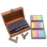 Set di timbri in gomma in legno Easylife, inclusi timbri da 70 pezzi e tampone per timbri a colori 3 pezzi, la forma è alfabeto e numero, per scrapbooking artigianale