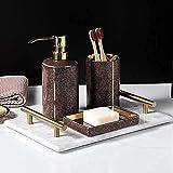 AWJ Juego de Accesorios de baño Kit de baño Dorado Juego de Accesorios de baño de cerámica Botella de loción Taza de Enjuague bucal Suministros de baño