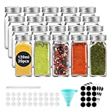 Ecooe Spice Bottle 20x120ml Tarros de Especias con Tapón de Rosca Hermético Tarro de Especias Cuadrado con 1 Embudo y Bolígrafo 48 Etiquetas Negras 10 Filtros de Repuesto Vidrio Almacenamiento