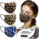 Disposable Face Masks - 60pcs Face Mask for Women Men with Comfortable Leopard Mouth Cover 3-Ply with Adjustable Ear Loops & Nose Wire