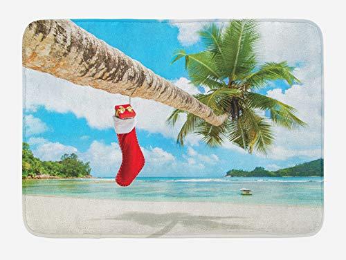 Tappetino da bagno natalizio, calzino sulla palma sulla spiaggia sabbiosa tropicale isola design Maldive, tappetino da bagno in peluche con retro antiscivolo, blu rosso