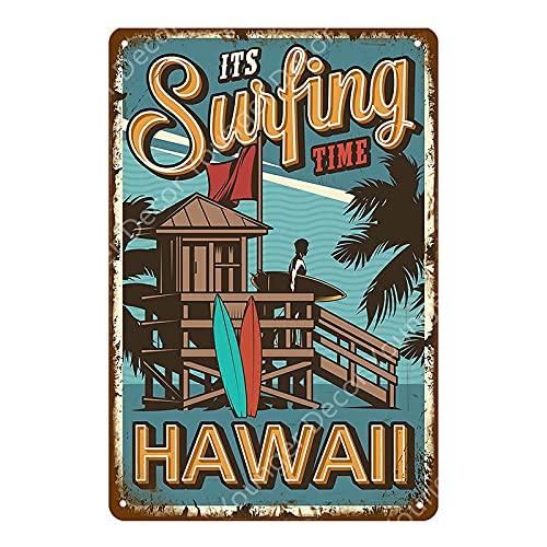 Cartel de Bar Hawaii Beach Surfing Party Decoración Retro Arte de la Pared Pintura Decoración Placa + Placa de hojalata Cartel de Chapa de Metal 20x30cm YD6908G