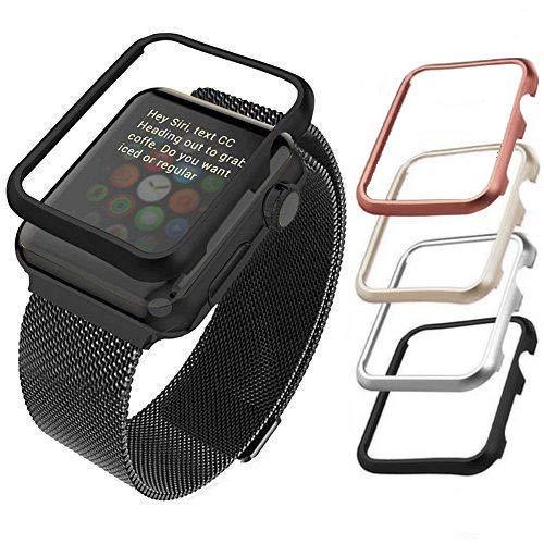 qualiquipment Aluminium Hülle kompatibel mit Apple Watch, qualiquipment iWatch Zubehör Hülle Bumper Cover Schutzhülle in den Größen 42mm/38mm für Series1, Series2, Series3 (38mm Schwarz)