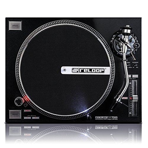 Reloop RP-7000 – DJ Plattenspieler mit sehr starkem High Torque Quartz-Direktantrieb, höhenverst. (VTA) Tonarm, Pitch-Bereich (+/-8%, +/-16%, +/-50%), (schwarzmetallic)