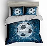 Abojoy Soccer Ball Bedding King Size, Cool Ice European Sport Printing Boys Kids Teens Room Decorative Bedspreads Duvet Cover Set with 1 Quilt Cover + 2 Pillow Shams, Blue