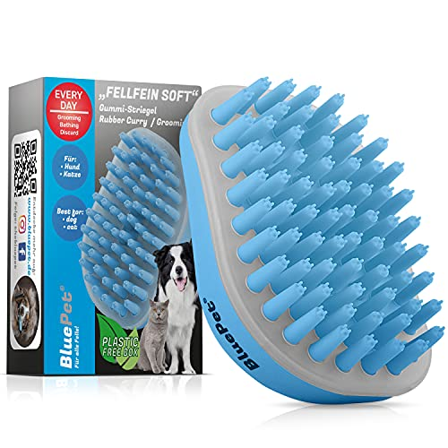 Bluepet® FellFein Soft Gummistriegel für kleine Hunde & Katzen mit Massageeffekt | Entfernt Loses Deckhaar, Fell, Staub & Schmutz | Bürste mit speziellen Gumminoppen auch als Badebürste