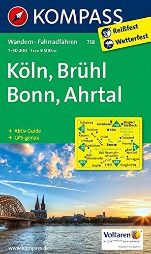 KOMPASS Wanderkarte Köln - Brühl - Bonn - Ahrtal: Wanderkarte mit Aktiv Guide und Radrouten. GPS-genau. 1:50000 (KOMPASS-Wanderkarten, Band 758)